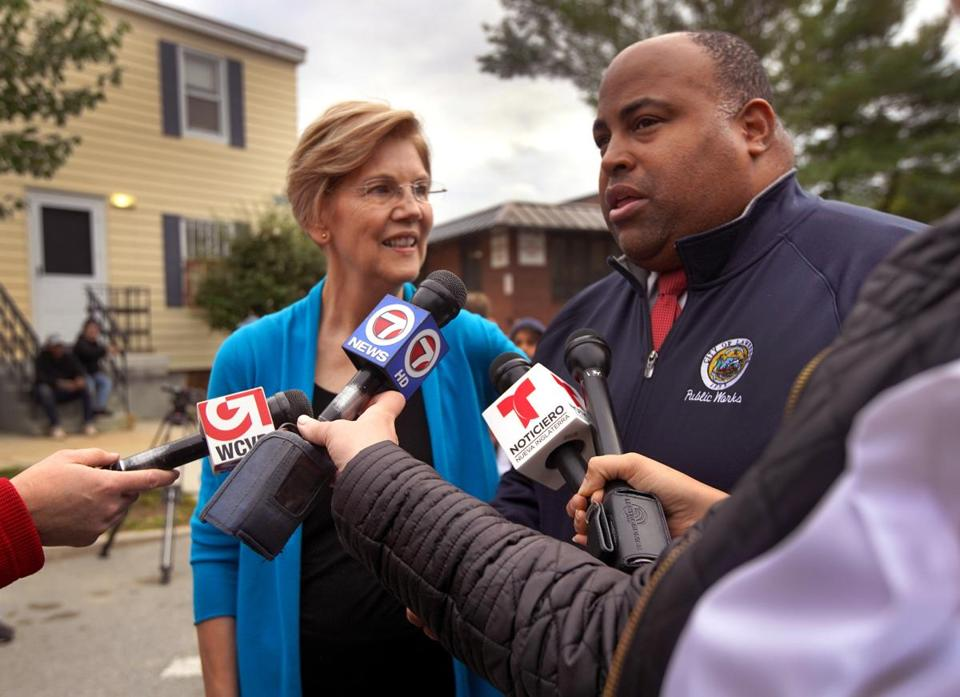 "Senator Elizabeth Warren, at a news conference with Lawrence Mayor Daniel Rivera last year, plans to make a ""big announcement"" in Lawrence Feb. 9."