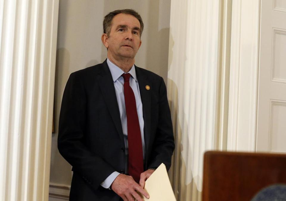 Virginia Gov. Ralph Northam arrives for a news conference in the Governor's Mansion in Richmond, Va., on Saturday, Feb. 2, 2019. Northam is under fire for a racial photo that appeared in his college yearbook. (AP Photo/Steve Helber)