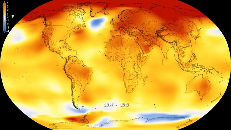 This map made available by NASA in February 2019 shows global surface temperature anomalies for 2014-2018. Higher than normal temperatures are shown in red and lower than normal temperatures are shown in blue. Two U.S. agencies, the United Kingdom Met Office and the World Meteorological Organization analyzed global temperatures in slightly different ways, but each came to the same conclusion on Wednesday, Feb. 6, 2019: 2018 was the fourth-warmest year on record behind 2016, 2015 and 2017. (Kathryn Mersmann/NASA - Scientific Visualization Studio via AP)