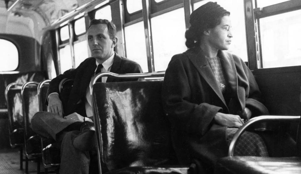 Rosa Parks sat in the front of a city bus in Montgomery, Ala., in 1956.
