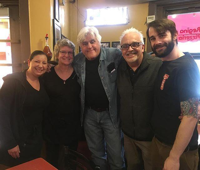 From left to right, Patricia Savi, Pam Foley, Jay Leno, Richie Zapta, Doug Norman.