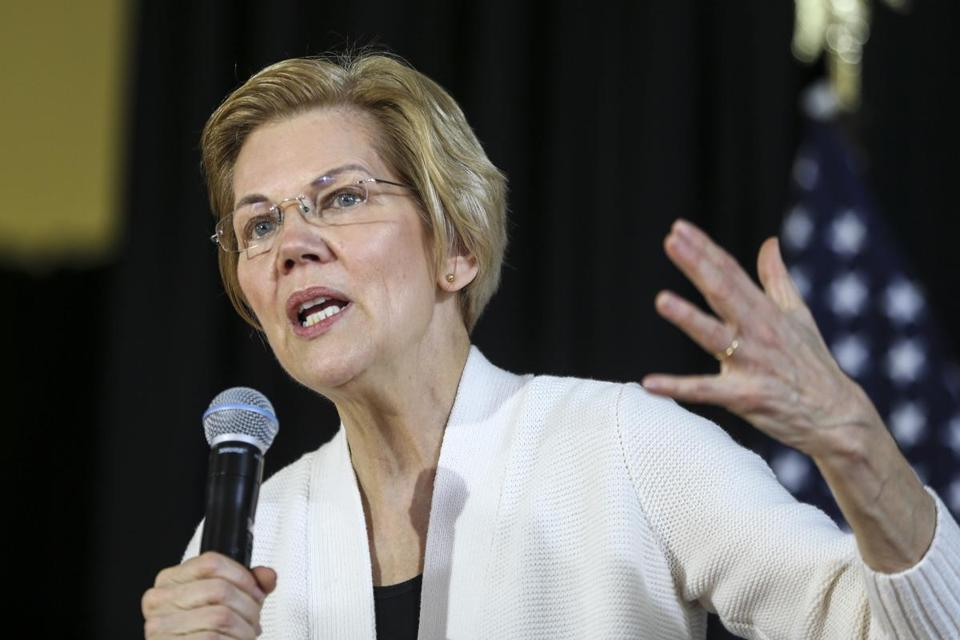 Dover, NH--02/09/2019--Elizabeth Warren speaks during her campaign event in Dover, NH on Saturday afternoon. (Nathan Klima for the Boston Globe) Topic: 10warren Reporter: