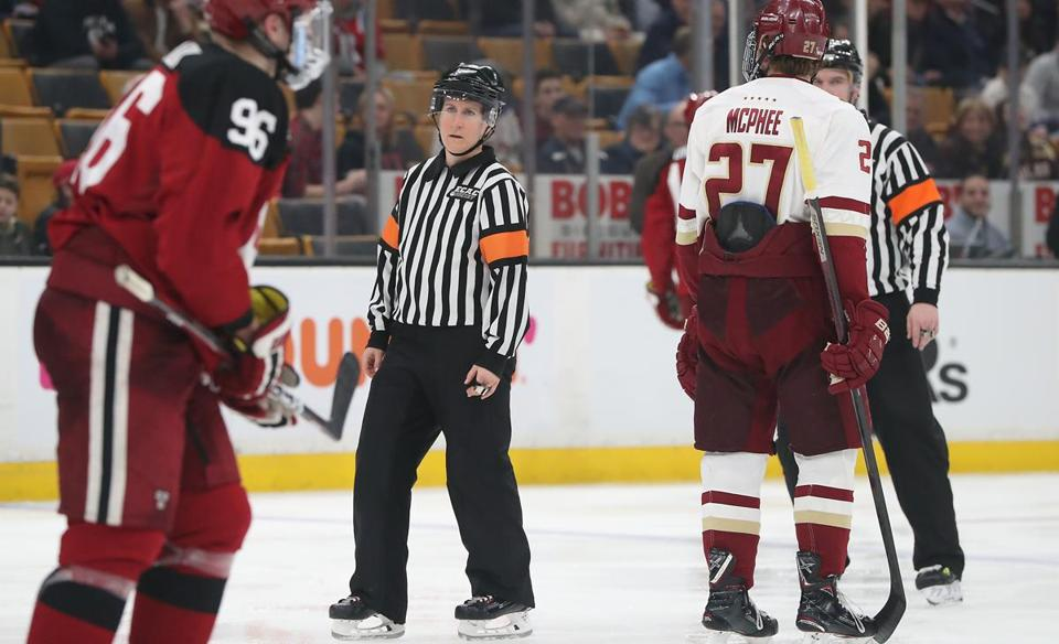 Referee Katie Guay became the first female to referee a men's Beanpot game Monday at TD Garden.