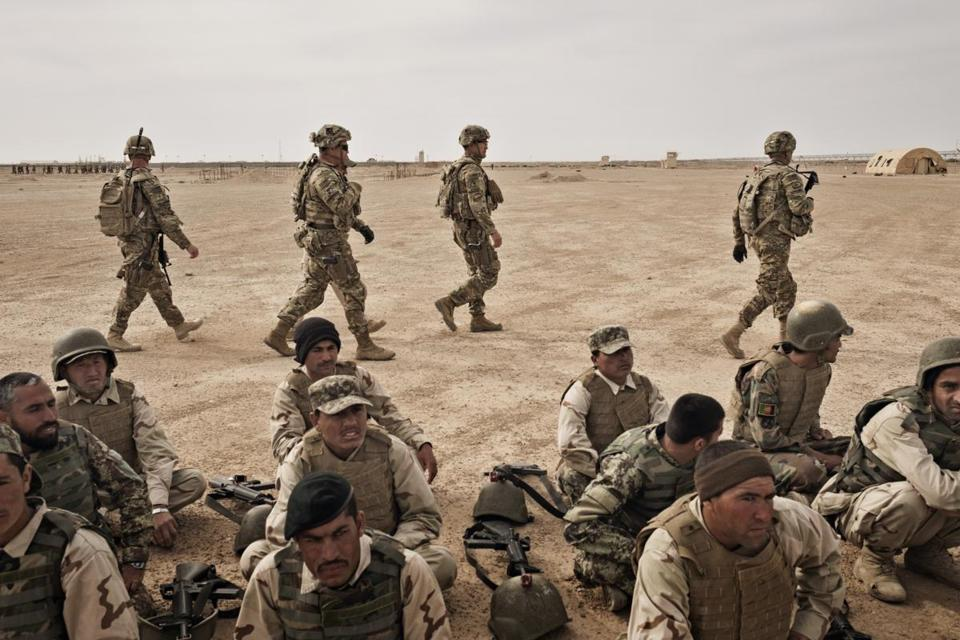 American soldiers during Afghan National Army training at Camp Bastion in Helmand Province, Afghanistan. The Pentagon has stepped up airstrikes and special operations raids in Afghanistan to the highest levels since 2014 in what Defense Department officials described as a coordinated series of attacks on Taliban leaders and fighters.
