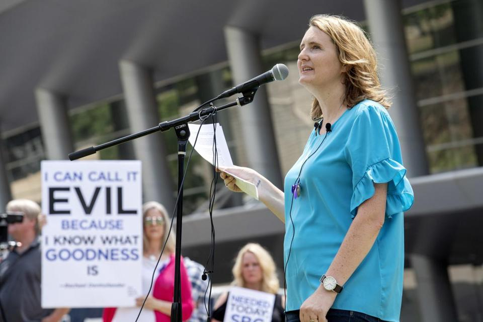Rape survivor and abuse victim advocate Mary DeMuth spoke during a rally outside the Southern Baptist Convention's annual meeting in Dallas last June.