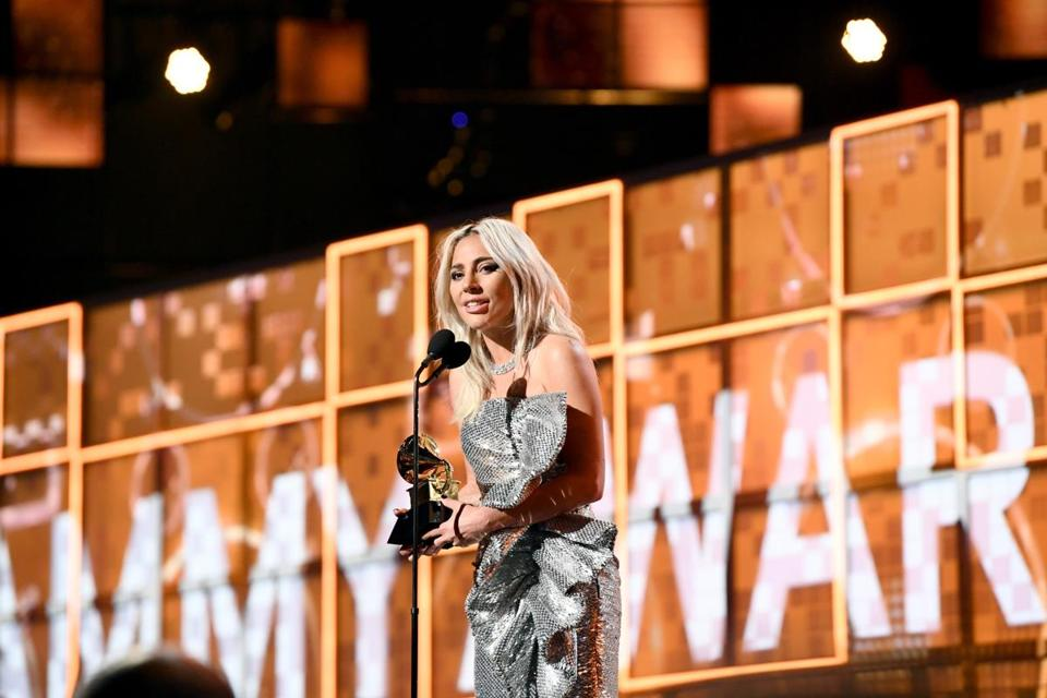 "Lady Gaga accepted the Grammy Award for Best Pop Duo/Group Performance for ""Shallow"" at Sunday's ceremony."