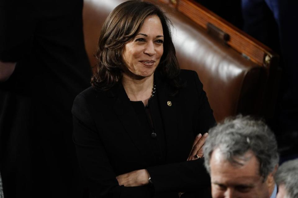 Sen. Kamala Harris, D-Calif., awaits the State of the Union address in the House on Tuesday, Feb. 5, 2019. MUST CREDIT: Washington Post photo by Melina Mara.