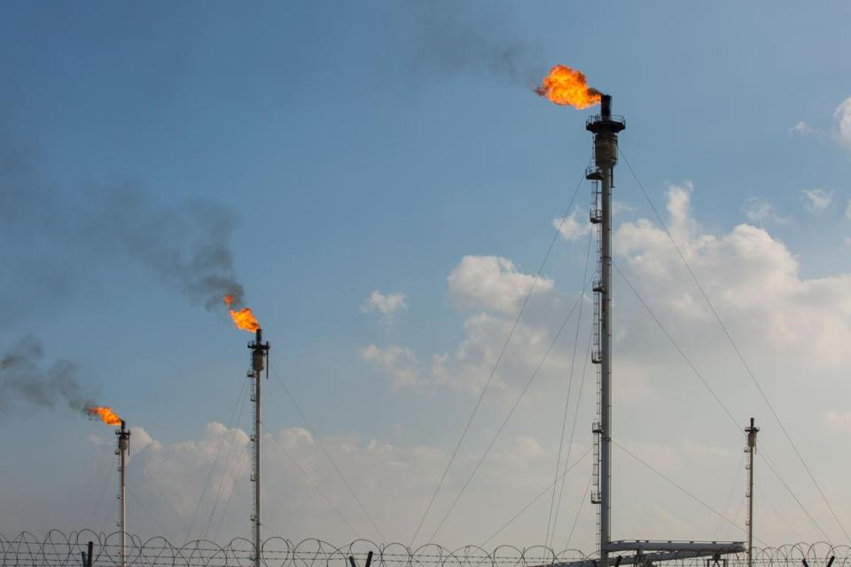 This picture shows gas flares at the Basrah Gas Company's (BGC) facilities in Basra on February 11, 2019. (Photo by Hussein FALEH / AFP)HUSSEIN FALEH/AFP/Getty Images