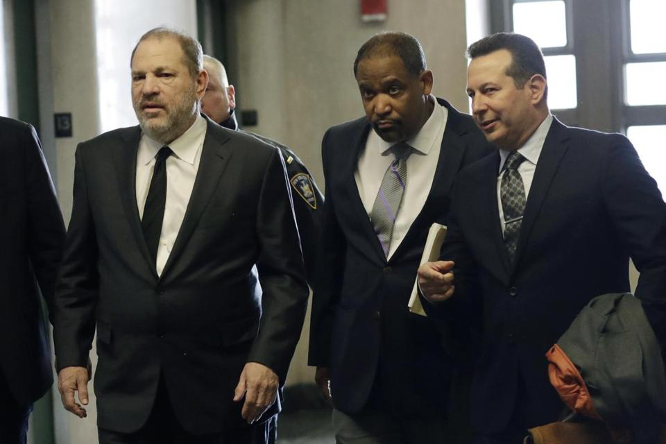 Harvey Weinstein (left) went into court last month with Winthrop House faculty dean Ronald S. Sullivan Jr. (center).