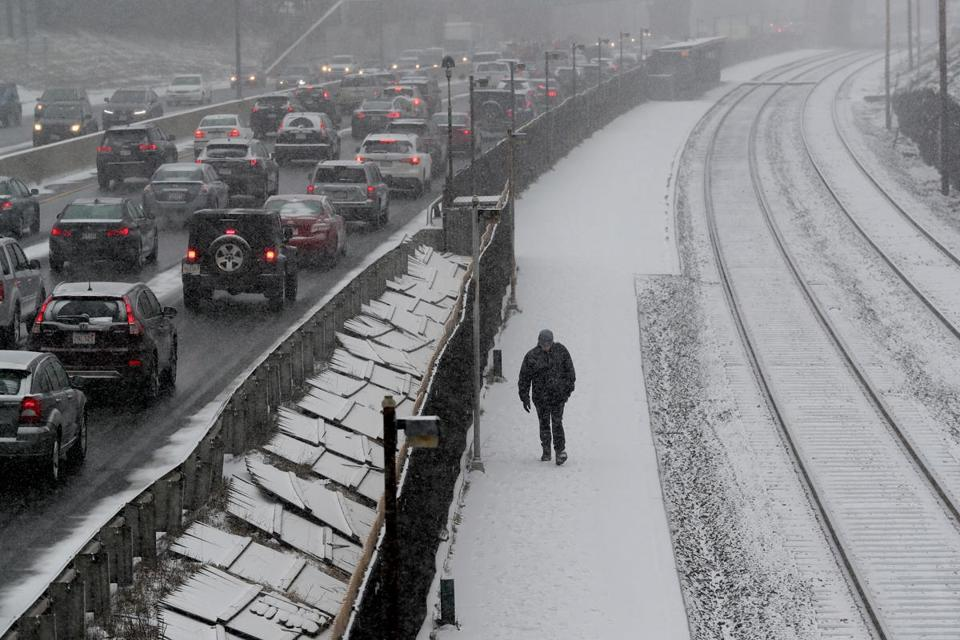 It was a long, cold, snowy commute on the Massachusetts Turnpike and for commuters getting off the train in Newtonville on Tuesday afternoon.