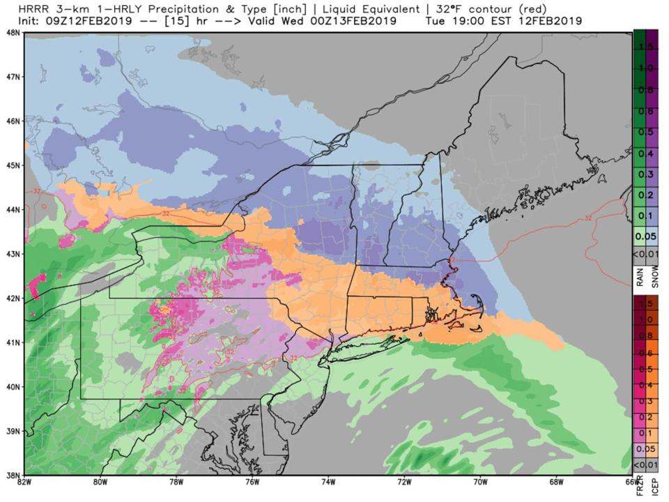 Sleet as noted in orange will be moving into much of southern New England later Tuesday.