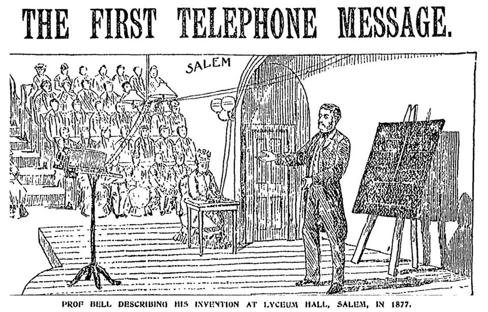 An image from the Globe in 1897 recreated Alexander Graham Bell's historic demonstration in cooperation with the Boston Globe.