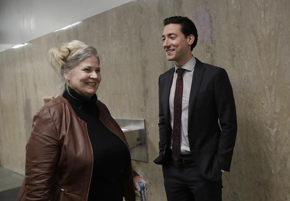 Antiabortion activists Sandra Merritt and David Daleiden spoke outside of a courtroom in San Francisco on Monday.