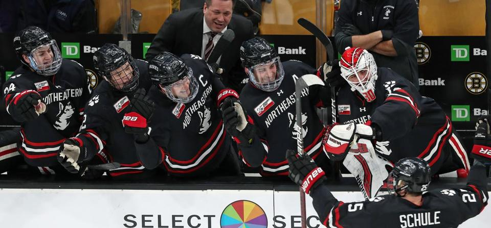 Patrick Schule's goal late in the second period got an enthusiastic response from the Northeastern bench.