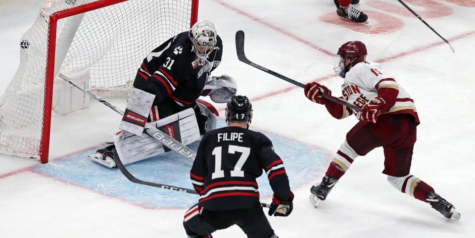 BC's JD Dudek ripped a centering pass past NU goalie Cayden Primeau to cut the deficit to 3-2 in the third.