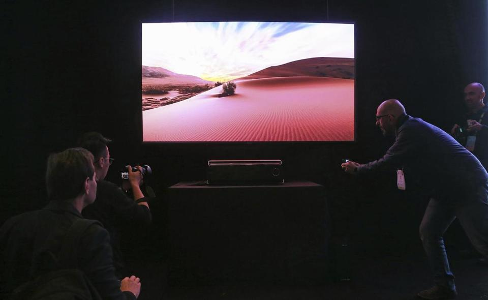 A next-generation 4K television at a demonstration in Las Vegas on Jan. 7.