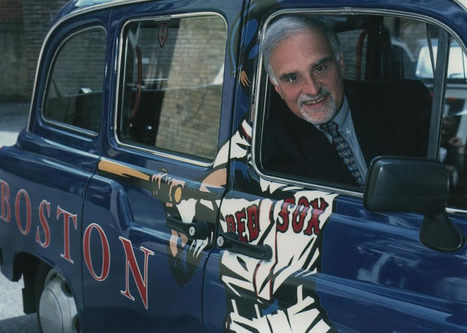 Patrick Moscaritolo, in a London cab specially painted for a Boston promotion in the UK in 1998.
