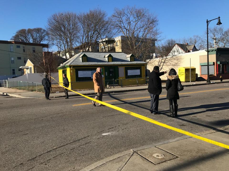 Investigators shut down River Street between Malta and Mattakeeset streets as they examined the crime scene on Sunday afternoon.