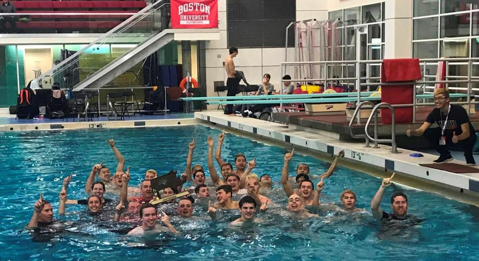 Everyone associated with the 2019 Wayland boys' swim team, coach Mike Foley included, partook in a ceremonial dip in the pool after capturing the Div. 2 state title for the third consecutive year.