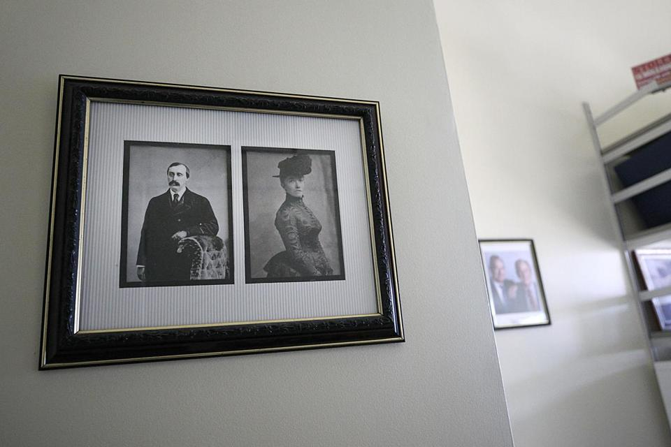 Boston, MA., 02/19/2019, Anthony Amore is the security director of the Isabella Stewart Gardner Museum in his office, which reflects his all-consuming quest to recover the masterpieces stolen decades ago. This is the framed photos of Isabella & Jack Gardner. Globe staff/Suzanne Kreiter