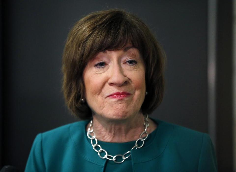 Senator Susan Collins of Maine spoke to news media at Saint Anselm College in Manchester in September 2018.
