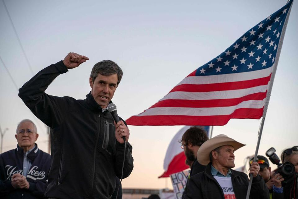 "Former Texas Congressman Beto O'Rourke speaks to a crowd of marchers during the ""March for Truth"" in El Paso, Texas, on February 11, 2019. - The march took place at the same time as US President Donald Trump pushed his politically explosive crusade to wall off the Mexican border at a rally in El Paso. (Photo by Paul Ratje / AFP)PAUL RATJE/AFP/Getty Images"