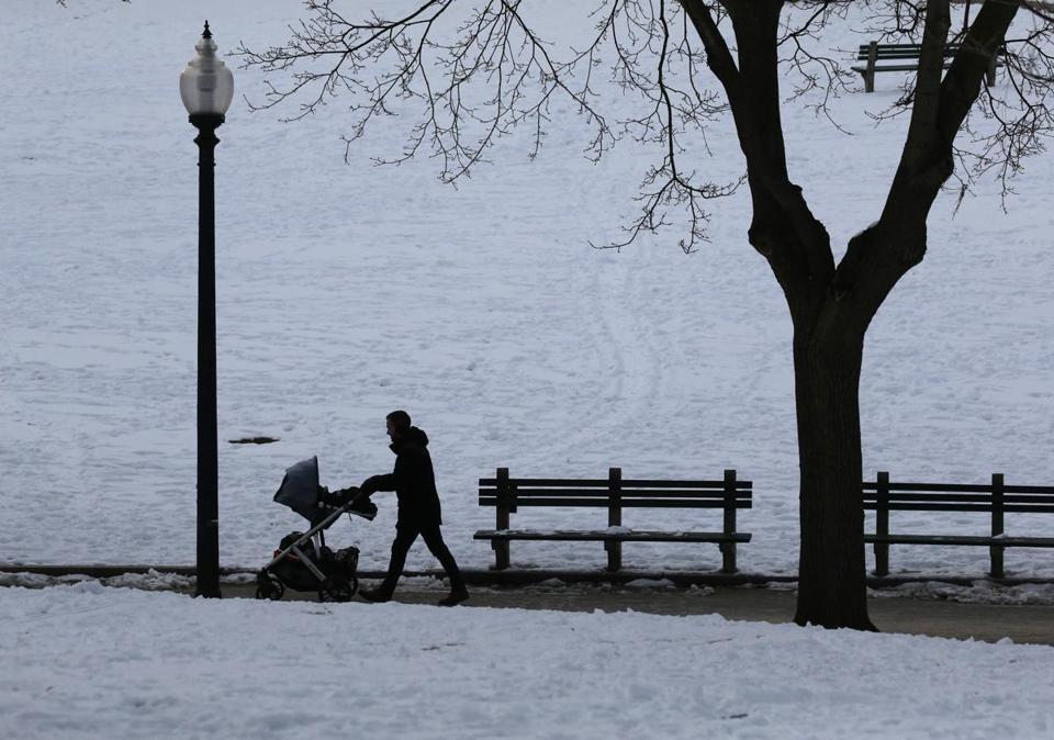 BOSTON, MA - February 20, 2019: - A man pushes a carriage through Boston Common in Boston, MA on February 20, 2019. A blanket of snow just covered Boston on Presidents' Day — but already another storm is headed for the region. The exact timing of the snow is not certain yet, the National Weather Service said Tuesday, but forecasters predicted snow will begin falling between 5 p.m. and 7 p.m. Wednesday — favoring the latter half of that range — in the western and central parts of Massachusetts, which could make for a messy evening commute. (Craig F. Walker/Globe Staff) section: Metro reporter: