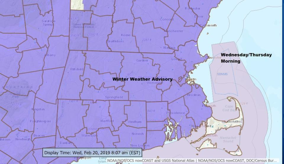 Winter weather advisories are posted for much of the area.