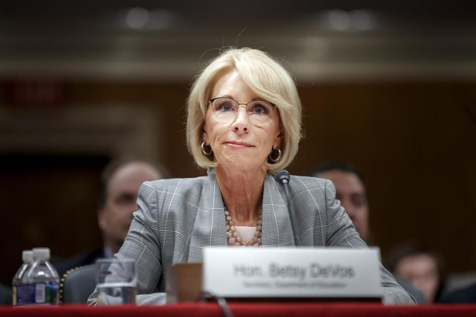 FILE -- Education Secretary Betsy DeVos testifies before senators on Capitol Hill in Washington, June 5, 2018. After two years of aggressively overhauling education policy, DeVos must now answer to lawmakers she's clashed with or ignored. (Tom Brenner/The New York Times)