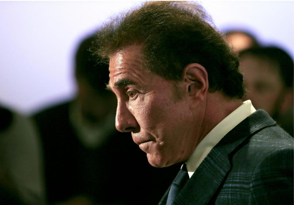 FILE - In this March 15, 2016 file photo casino mogul Steve Wynn appears during a news conference in Medford, Mass. Documents collected by the Massachusetts Gaming Commission for a probe about allegations of sexual misconduct against Wynn and the suitability of his former company to operate a Boston-area casino will remain secret, at least temporarily, following a ruling Friday, Jan. 4, 2019, by a Nevada state court judge.(AP Photo/Charles Krupa, File)