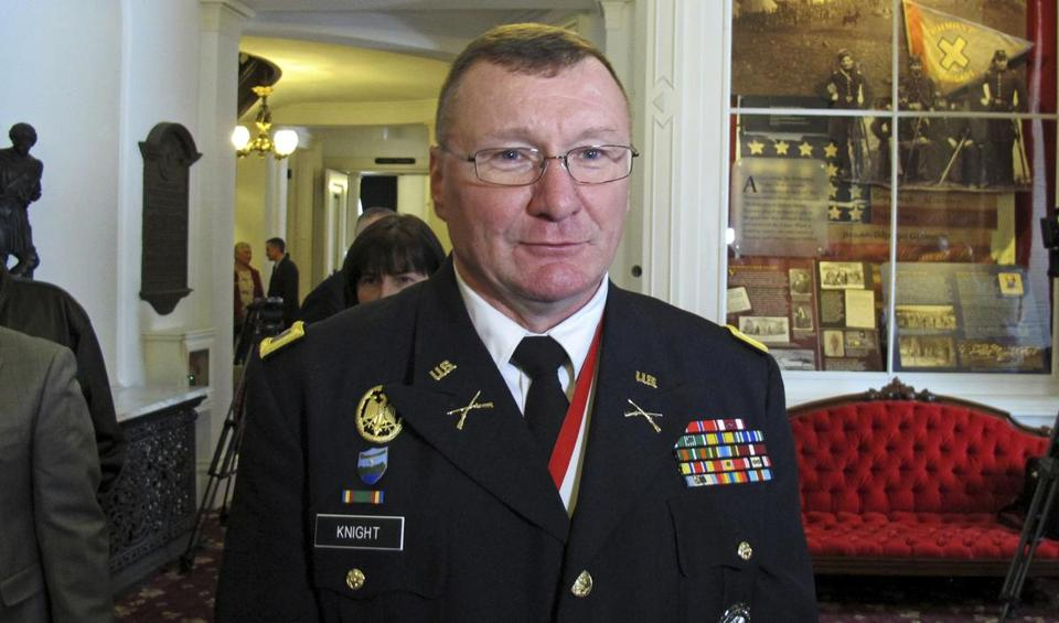 Vermont Army National Guard Adjutant General-elect Gregory Knight spoke to reporters after his election at the Vermont Statehouse on Thursday.