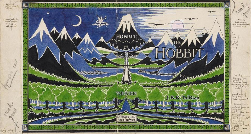 "A 1937 dust jacket design by J.R.R. Tolkien for ""The Hobbit"" is among the items on display in ""Tolkien: Maker of Middle-earth"" at the Morgan Library & Museum in New York."
