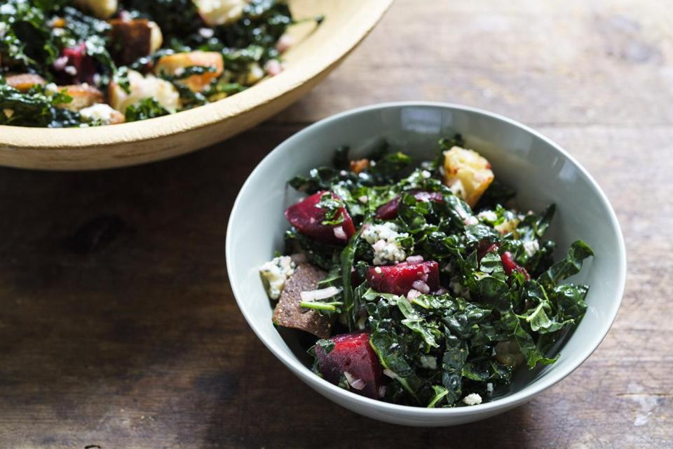 Bread Salad With Kale, Beets, and Blue Cheese