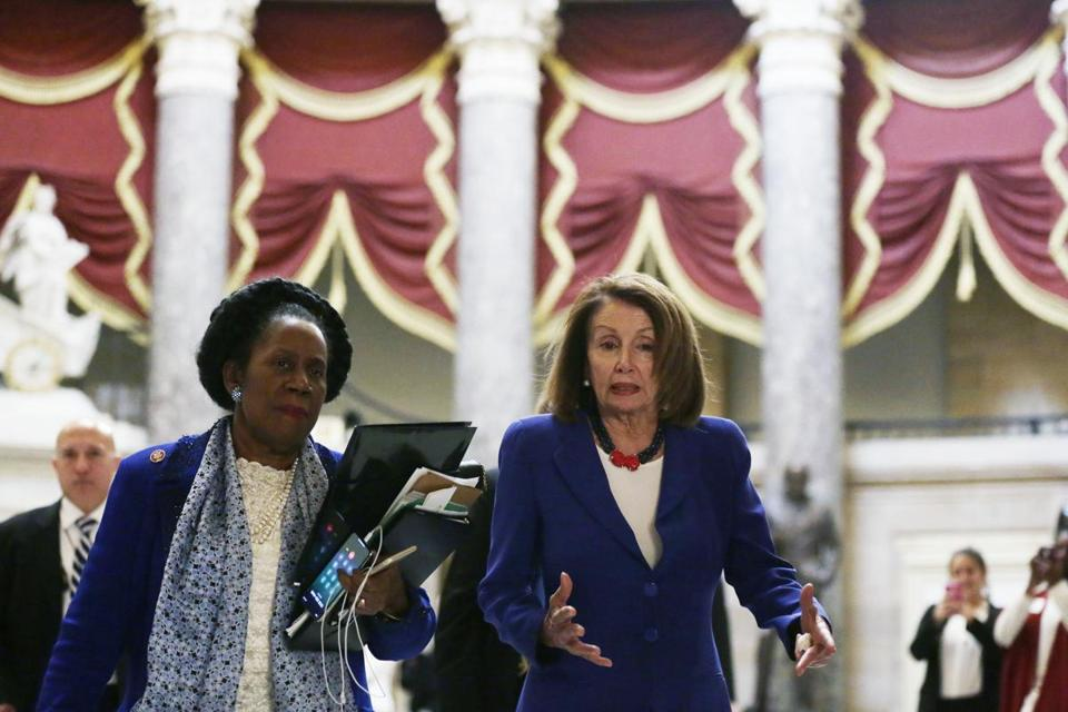 WASHINGTON, DC - FEBRUARY 26: U.S. Speaker of the House Rep. Nancy Pelosi (D-CA) (R) walks with Rep. Sheila Jackson-Lee (D-TX) (L) to the House chamber for a vote February 26, 2019 at the U.S. Capitol in Washington, DC. The House is scheduled to vote on a legislation to block President Donald Trumps emergency declaration to redirect federal funding to build a border wall on the southern border. (Photo by Alex Wong/Getty Images)