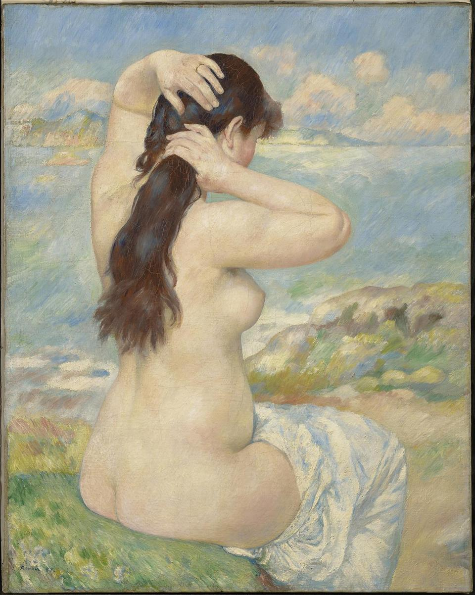 BATHER ARRANGING HER HAIR, 1885. OIL ON CANVAS, 36 3/16 X 28 3/4 IN. CLARK ART INSTITUTE