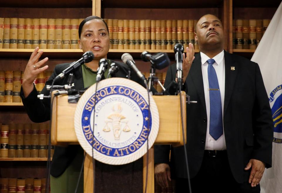 Suffolk County District Attorney Rachael Rollins, left, and Boston Police Commissioner William Gross spoke about the Jassy Correia investigation last week.