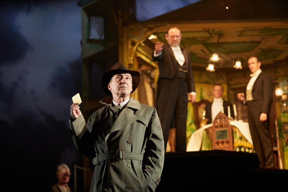 "From left, Liam Brennan, Jeff Harmer, Hamish Riddle, and Andrew Macklin in ""An Inspector Calls."""