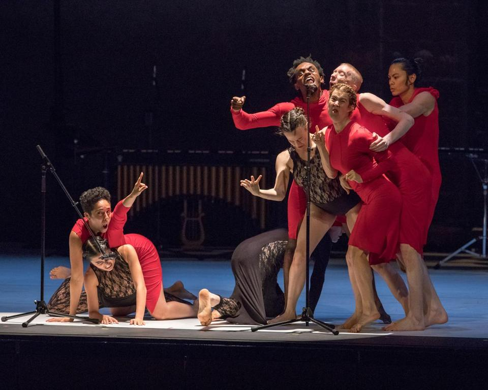 "Members of Ate9 Dance Company in ""calling glenn."""