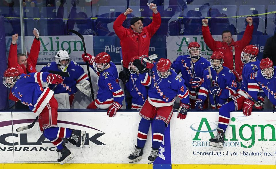 3-11-19 Lowell, MA: The Tewksbury bench erupts as the final horn sounds in their 6-4 victory. Boston Latin took on Tewksbury in the Division Two North boy's high school hockey finals at the Tsongas Center. (Jim Davis /Globe Staff).