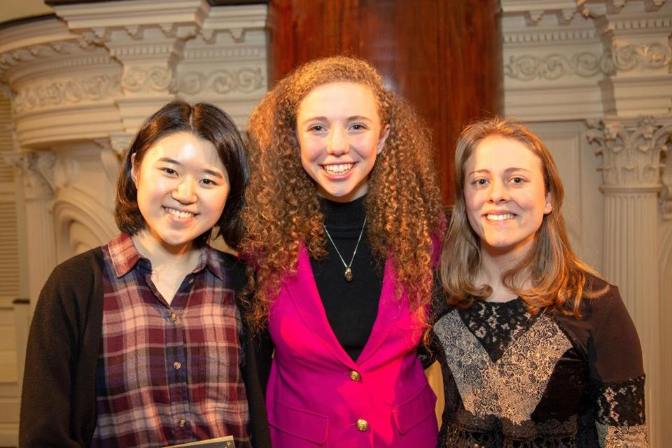 Second-place finisher Grace Hwang, Poetry Out Loud champion Rose Hansen, and third-place finisher Phaedra Plank.