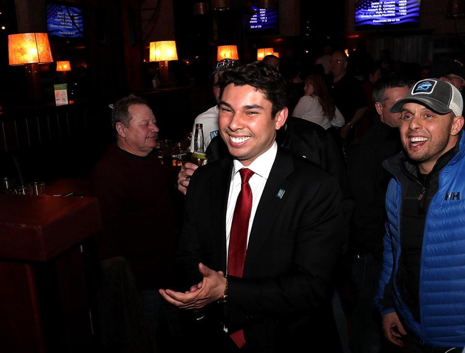 Fall River Mayor Jaisel Correia celebrated his victory in Tuesday's mayoral election.