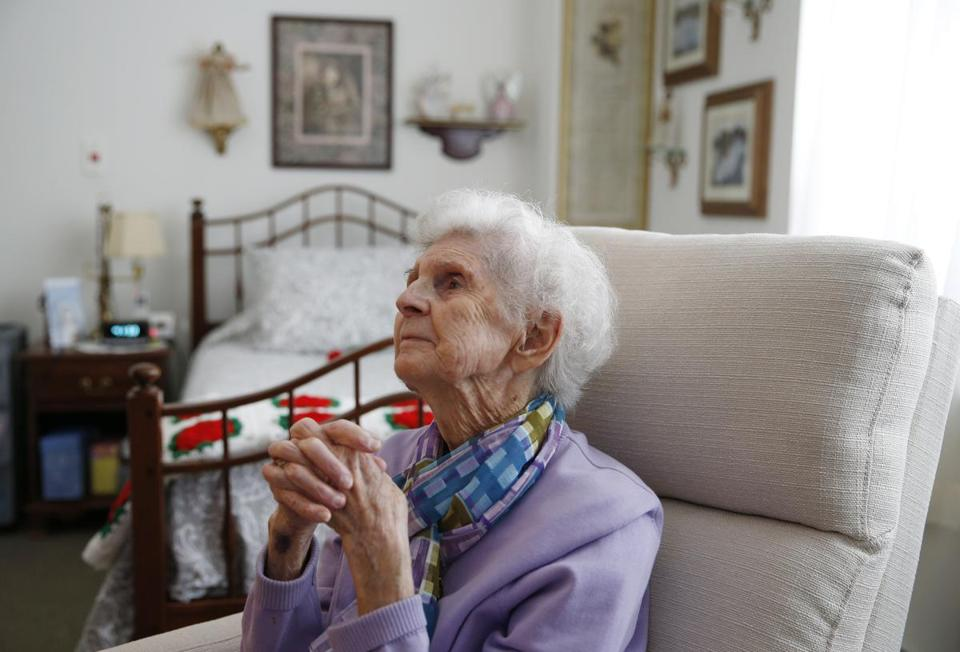 Marlborough, MA, 03/13/2019 -- Dottie Creamer, 92, chats with a Globe reporter inside her apartment at Christopher Heights, an assisted living residence in Marlborough. (Jessica Rinaldi/Globe Staff) Topic: xxseniorhousing Reporter: