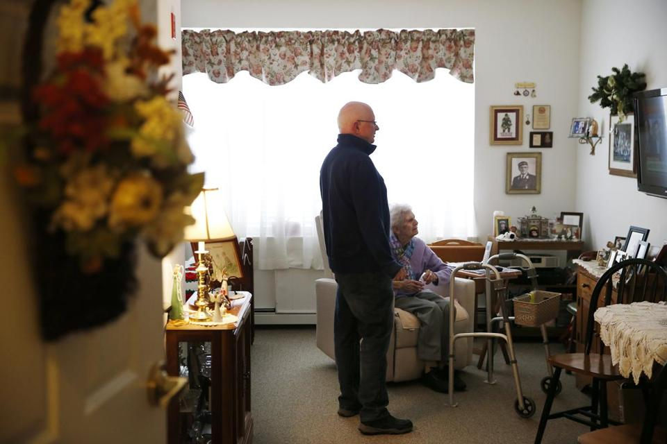 Marlborough, MA, 03/13/2019 -- Dottie Creamer (R) and her son, Steve, (L) visit together at Christopher Heights, an assisted living residence in Marlborough. (Jessica Rinaldi/Globe Staff) Topic: xxseniorhousing Reporter: