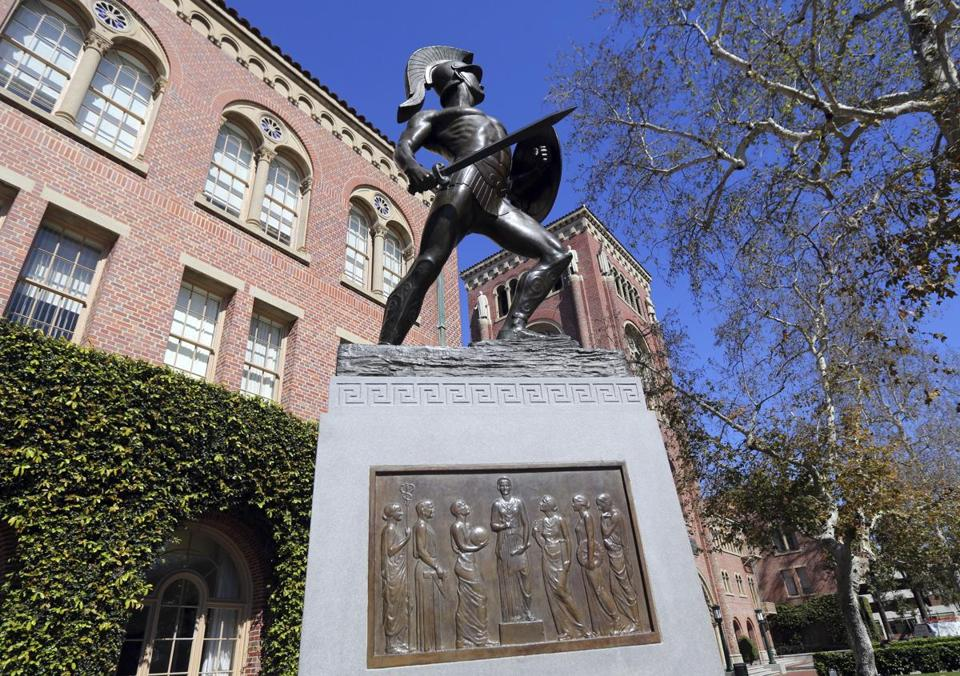 The iconic Tommy Trojan statue at the University of Southern California in Los Angeles.