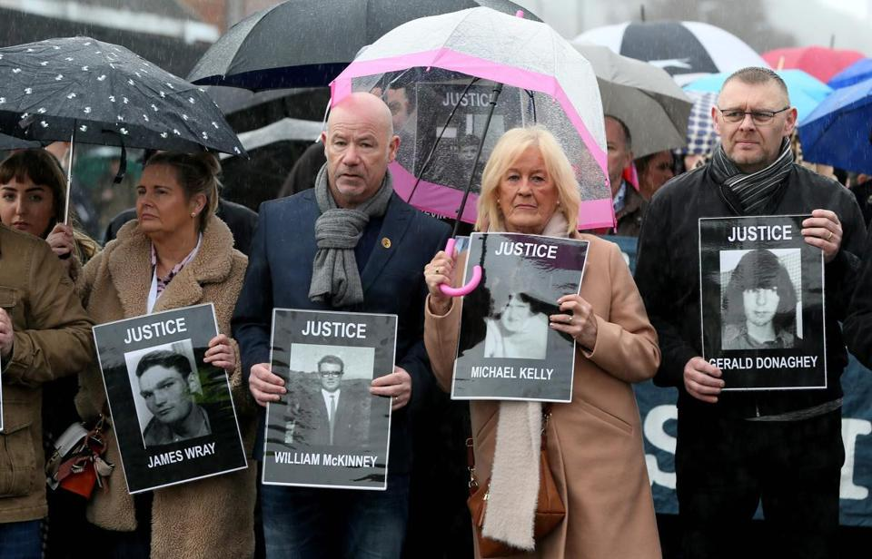 Relatives and supporters of the victims of the 1972 Bloody Sunday killings marched from the Bogside area of Derry, Northern Ireland, as they held images of those who died.