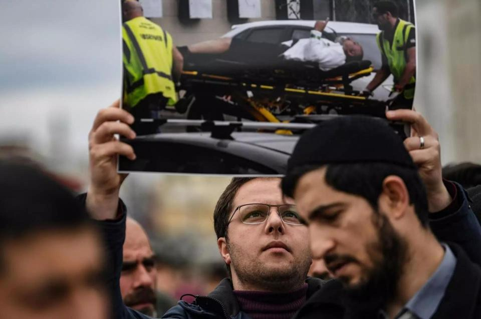 Protesters demonstrated to denounce New Zealand mosque attack that killed at least 49  in Christchurch on Friday.