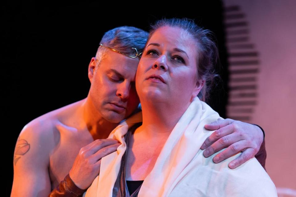 Gene Dante and Juliet Bowler in Not Medea. (Jake Scaltreto)