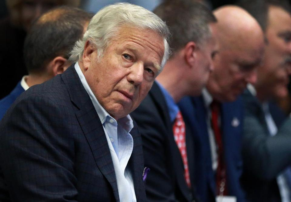 Houston, TX 2-1-17: New England Patriots owner Robert Kraft is pictured after he arrived and took his front row seat where NFL Commissioner Roger Goodell (not pictured) held his annual Super Bowl press conference this afternoon in the Bush Ballroom at the Media Center in downtown Houston. (Globe Staff Photo/) reporter: various topic: Super Bowl