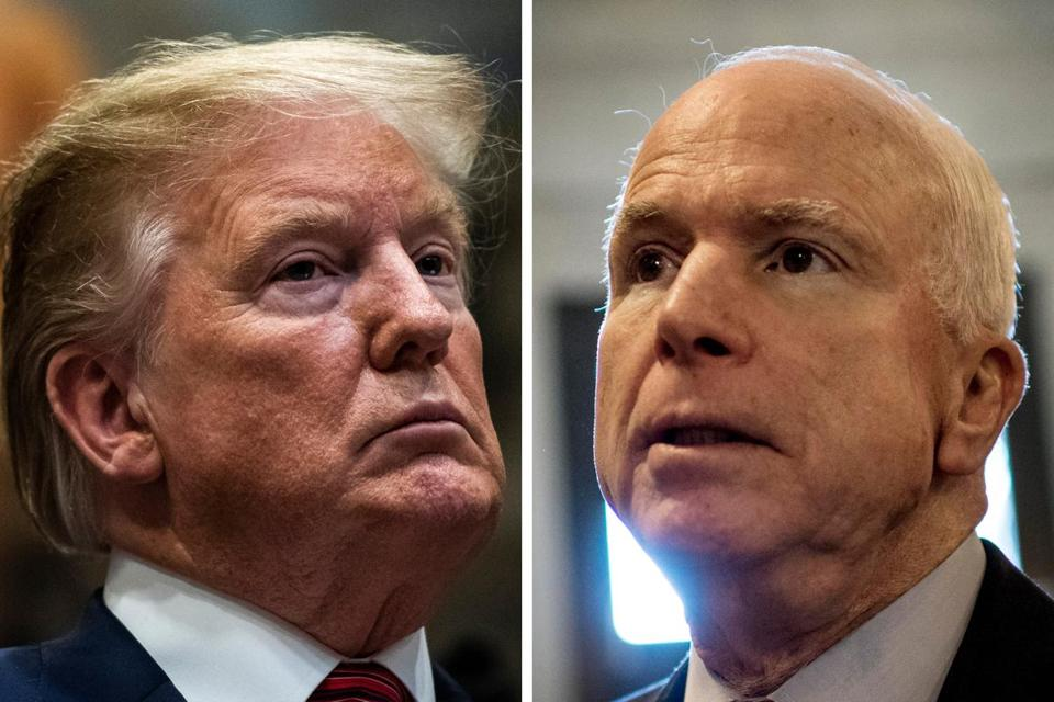 President Trump speaks during a signing ceremony for an executive order earlier this month; then-Sen. John McCain, R-Ariz., leaves the Senate floor in 2013. MUST CREDIT: Washington Post photos (from left) by Jabin Botsford and Melina Mara.