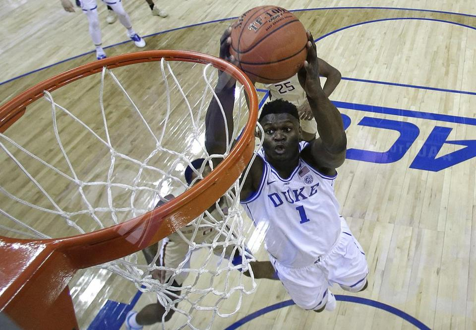 Duke s Zion Williamson (1) goes up to dunk against Florida State during the  first a51ecb421083